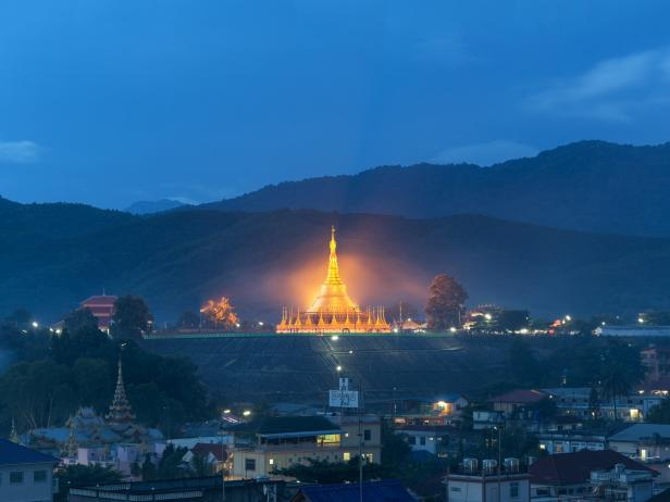 shewdagon pagoda, temple, night, village, myanmar, burma