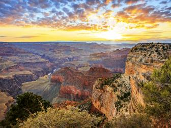 Horizontal view of the famous grand canyon at sunrise