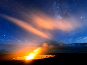 Kilauea Crater at Volcano National Park in Hawaii at night showing the Milky Way