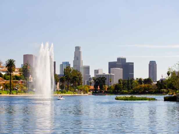 Echo Park Lake, pedal boat, Los Angeles, California