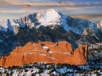 pikes peak, mountain, snow caps, sunset, colorado, pink sky