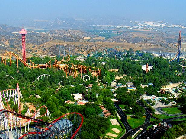 amusement park, aerial, greenery,