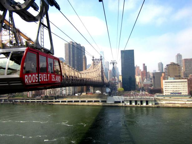 The Roosevelt Island Tram carries passengers over the East River.