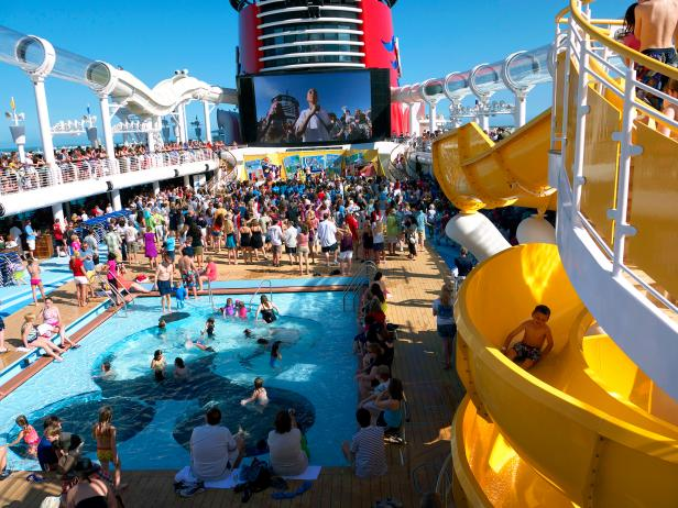disney cruise main deck pool slide big screen tv