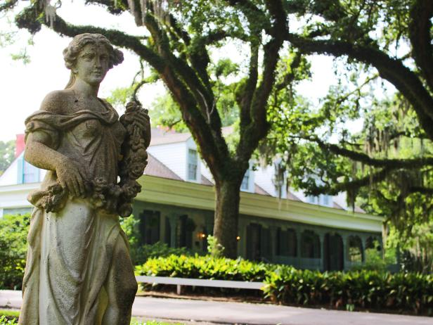 Statue outside of the Myrtles Plantation main house