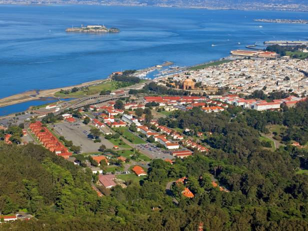 Aerial view of the Presidio on San Francisco Bay