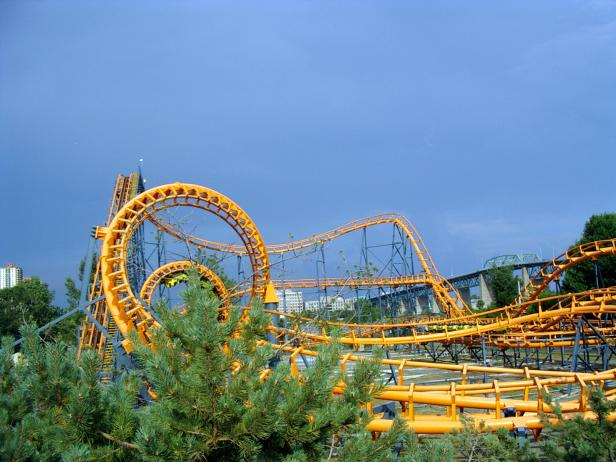 Roller Coaster at La Ronde Amusement Park