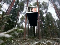Travel Channel goes inside treehouse hotels in Sweden.